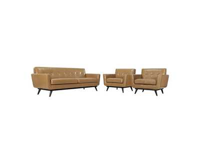 Image for Engage Tan 3 Piece Leather Living Room Set