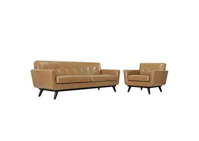 Image for Engage Tan 2 Piece Leather Living Room Set