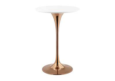 "Lippa Rose White 28"" Wood Top Bar Table"