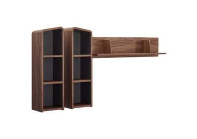 Image for Omnistand Walnut Gray Wall Mounted Shelves