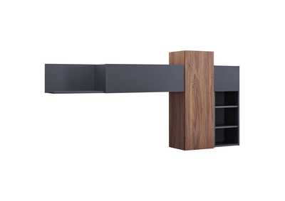 Image for Scope Walnut Gray Wall Mounted Shelves