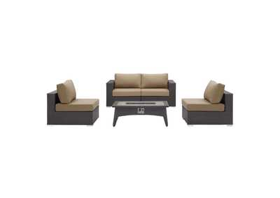 Image for Convene Espresso Beige 5 Piece Set Outdoor Patio with Fire Pit