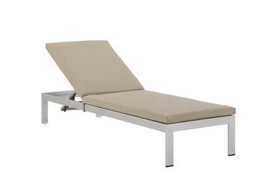 Image for Shore Silver Beige Outdoor Patio Aluminum Chaise with Cushions
