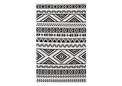 Image for Haku Black and White Geometric Moroccan Tribal 5x8 Area Rug