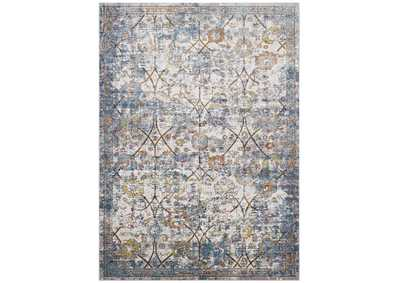 Image for Minu Light Blue, Yellow and Orange Distressed Floral Lattice 8x10 Area Rug
