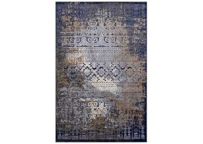 Image for Kalene Blue, Rust and Cream Distressed Vintage Turkish 5X8 Area Rug