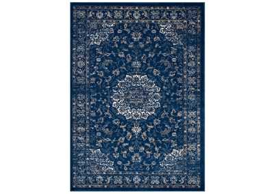 Image for Lilja Moroccan Blue, Beige and Ivory Distressed Vintage Persian Medallion 5x8 Area Rug