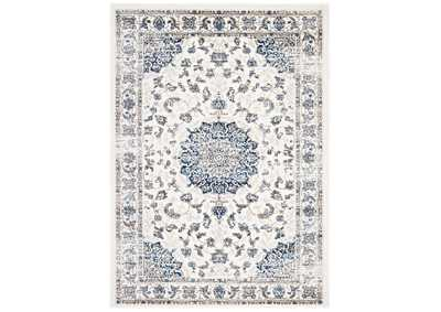 Image for Lilja Ivory and Moroccan Blue Distressed Vintage Persian Medallion 5x8 Area Rug