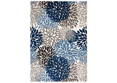 Image for Calithea Blue, Brown and Beige Vintage Classic Abstract Floral 8x10  Area Rug