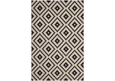 Image for Perplex Black and Beige  Geometric Diamond Trellis 5x8 Indoor and Outdoor Area Rug