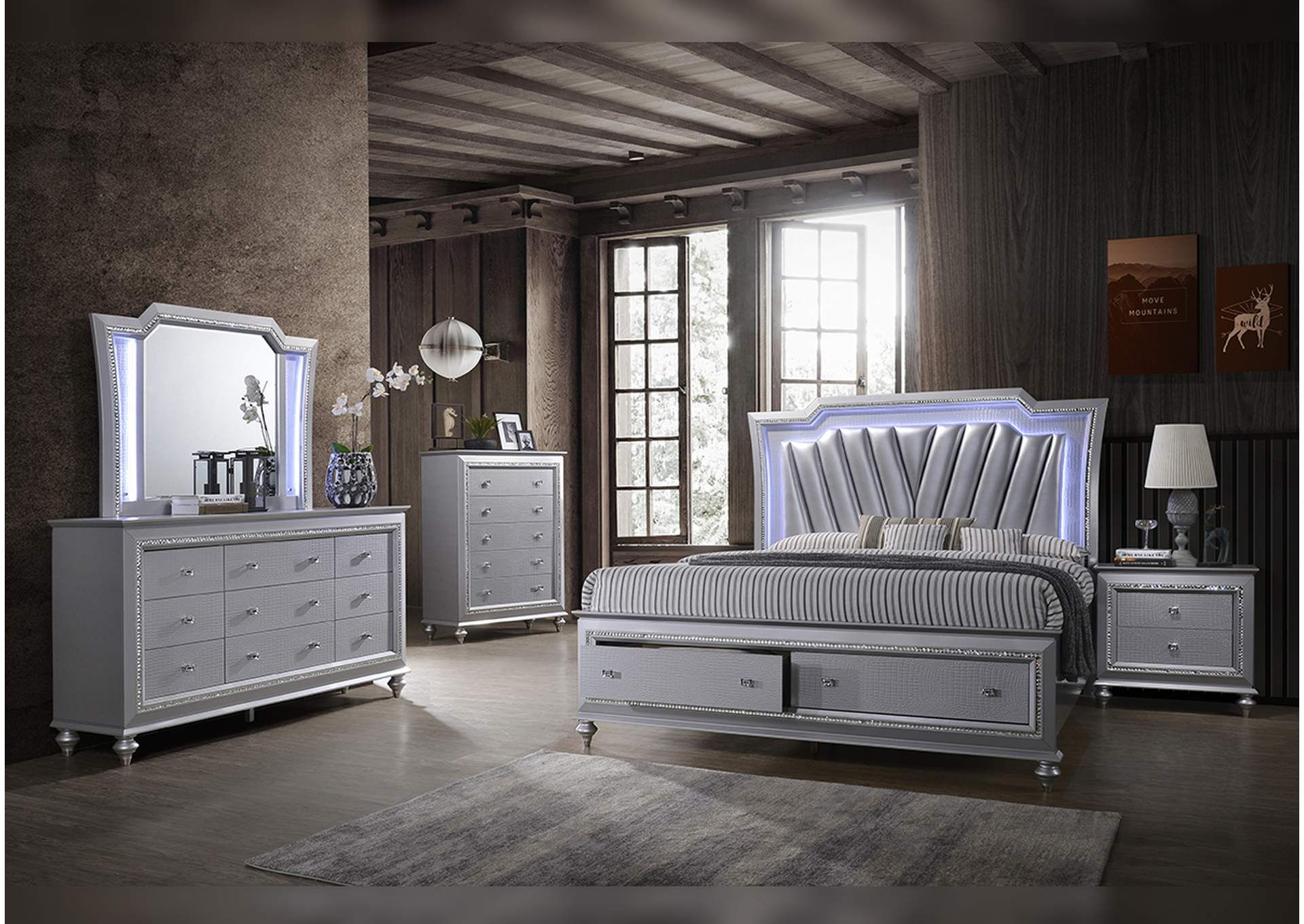 B117 Soft Grey Queen Bed,Nationwide