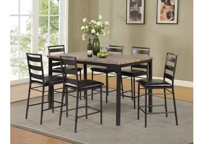 Image for D340 Gray Pub Table & 6 Pub Chairs - D340