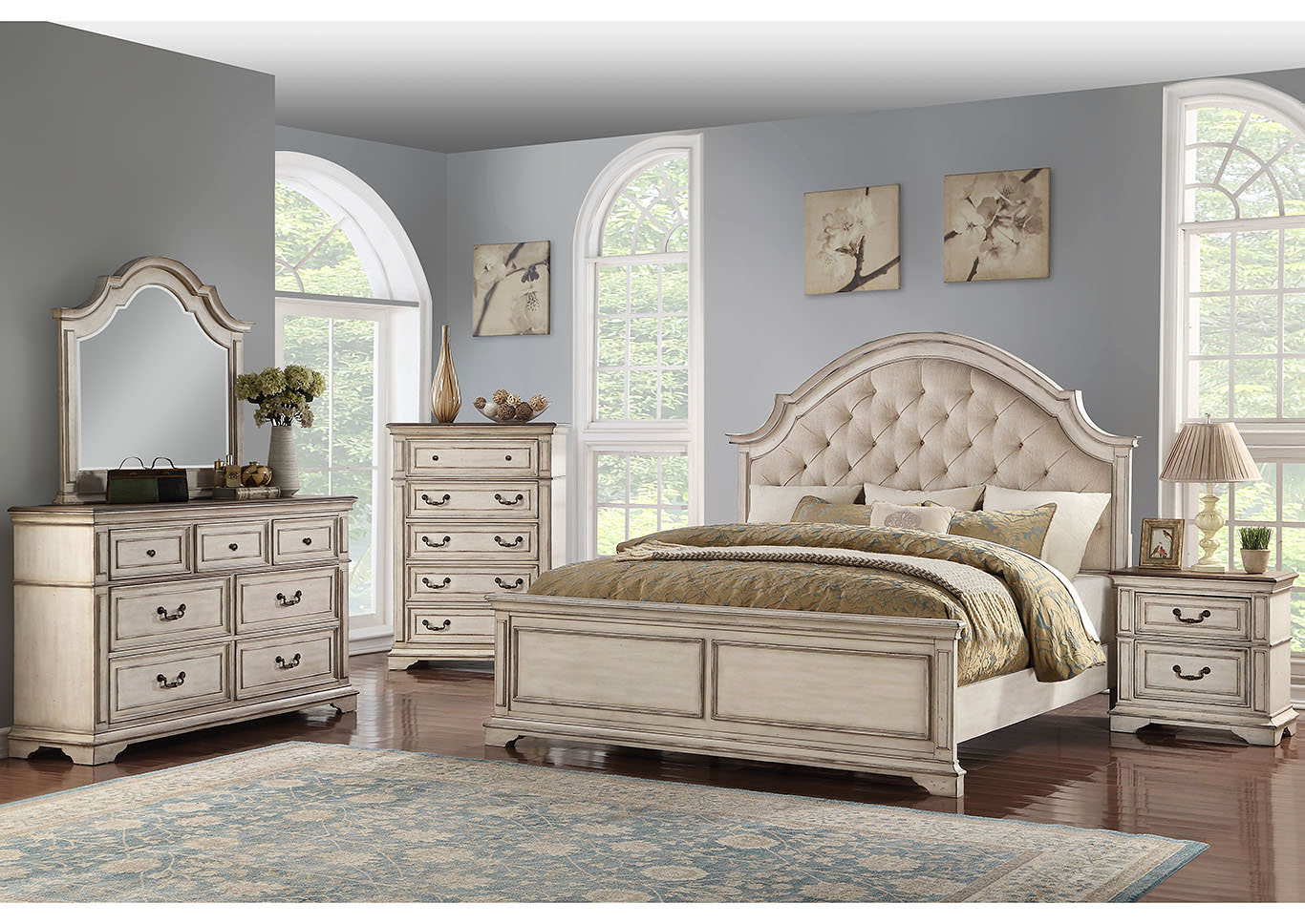 Anastasia Antique White Eastern King Upholstered Panel Bed w/Dresser And Mirror,New Classic