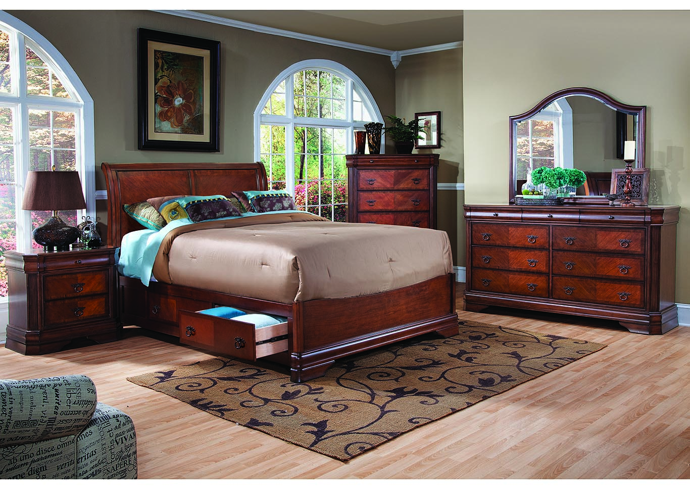 Sheridan Cherry Queen Bed w/Dresser and Mirror,New Classic