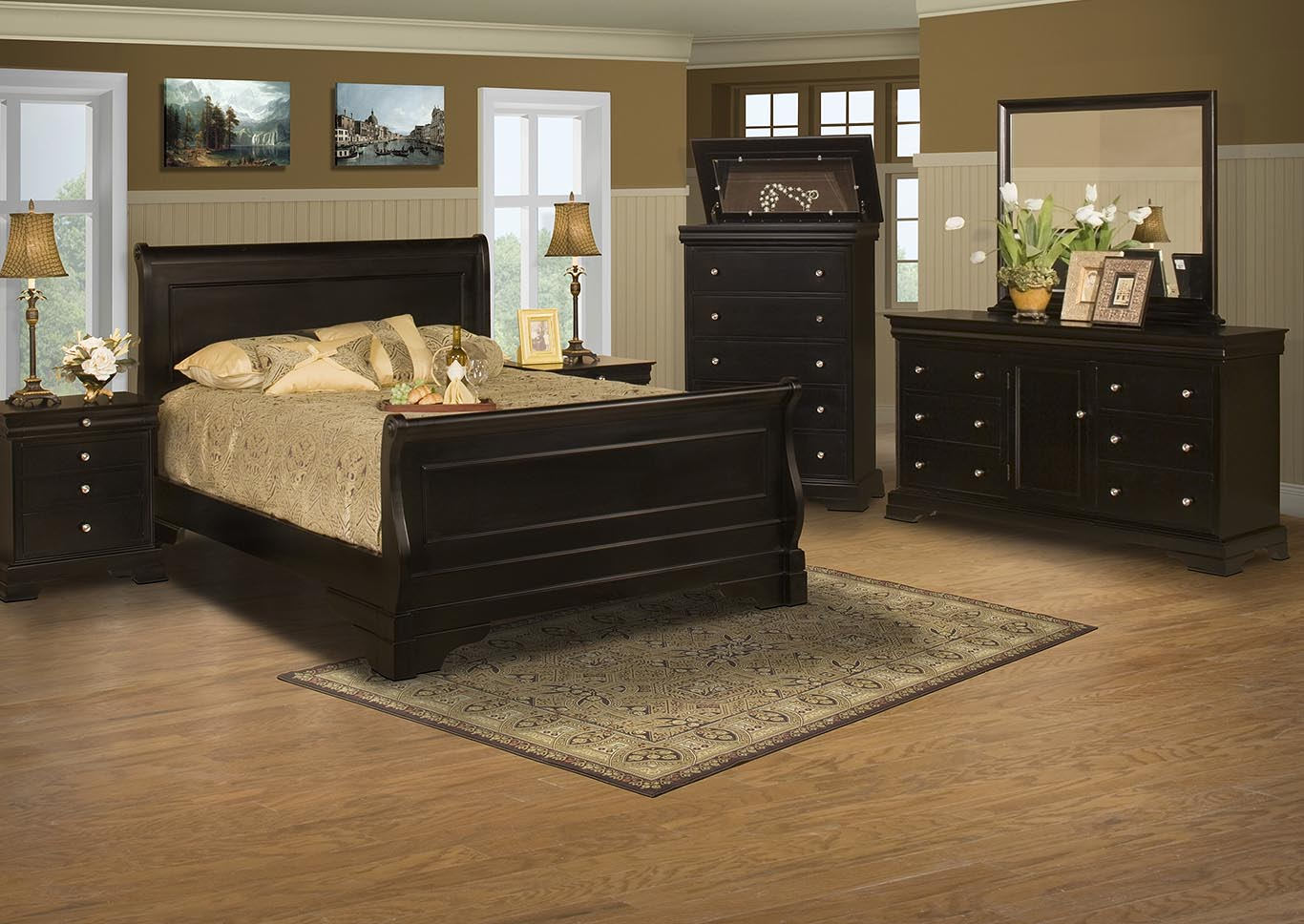 Belle Rose Black Cherry California King Bed w/Dresser and Mirror,New Classic