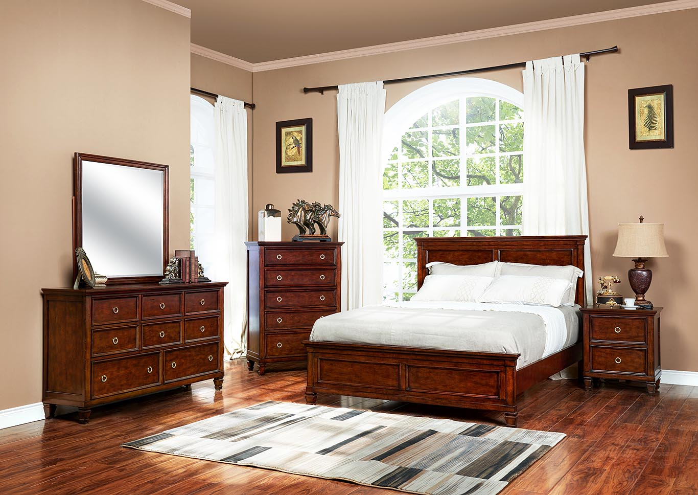 Tamarack Brown Cherry Twin Bed w/Dresser and Mirror,New Classic