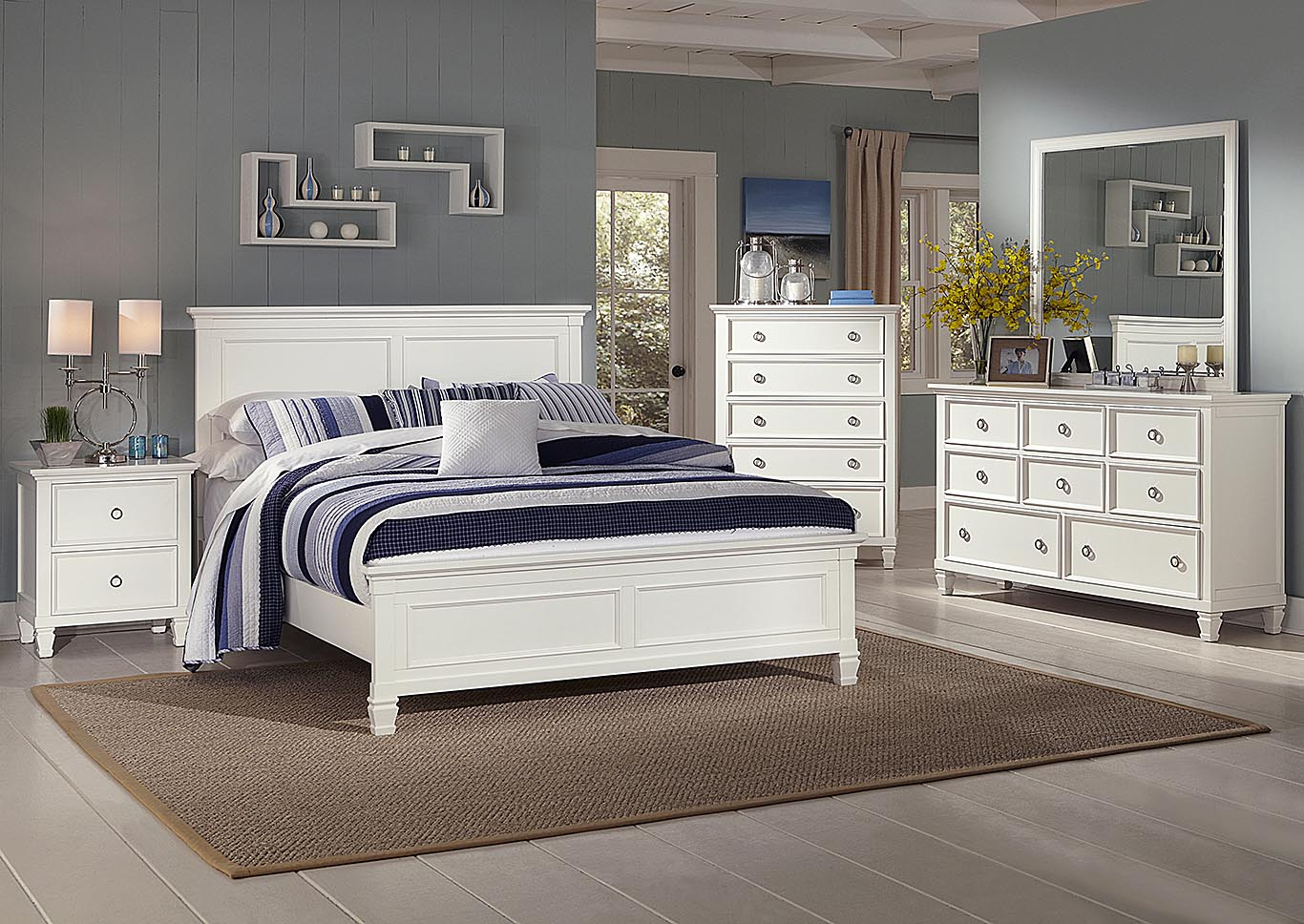 Tamarack White Twin Bed w/Dresser and Mirror,New Classic