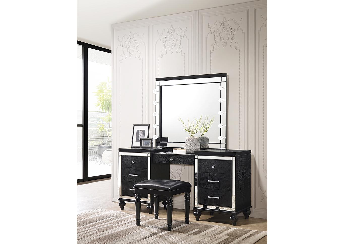 Valentino Black Vanity Table Stool Best Deal Ca