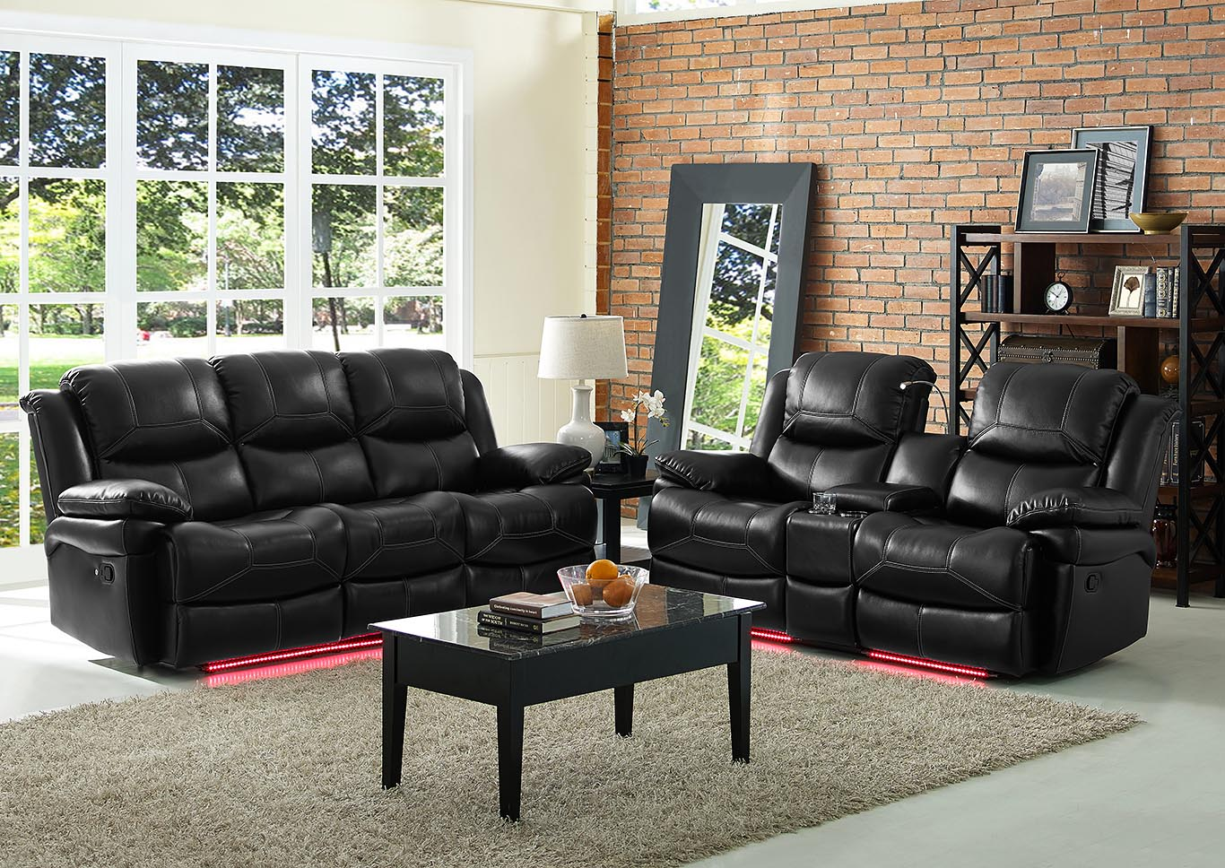 FLYNN BLACK CONSOLE LOVESEAT W/READING LIGHT AND POWER,New Classic