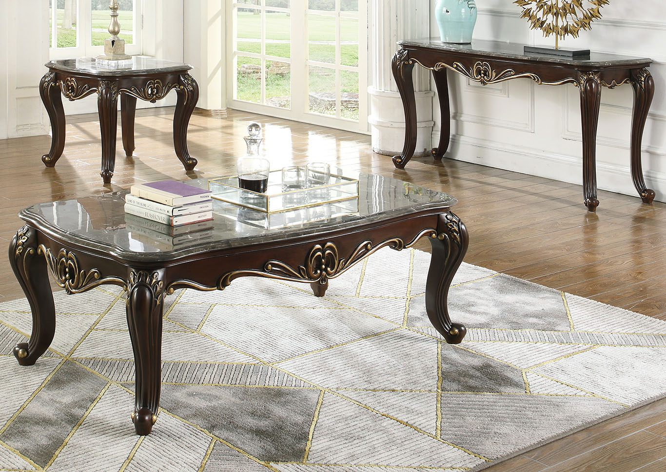 Constantine Antique Brown Console Table w/Marble Top,New Classic