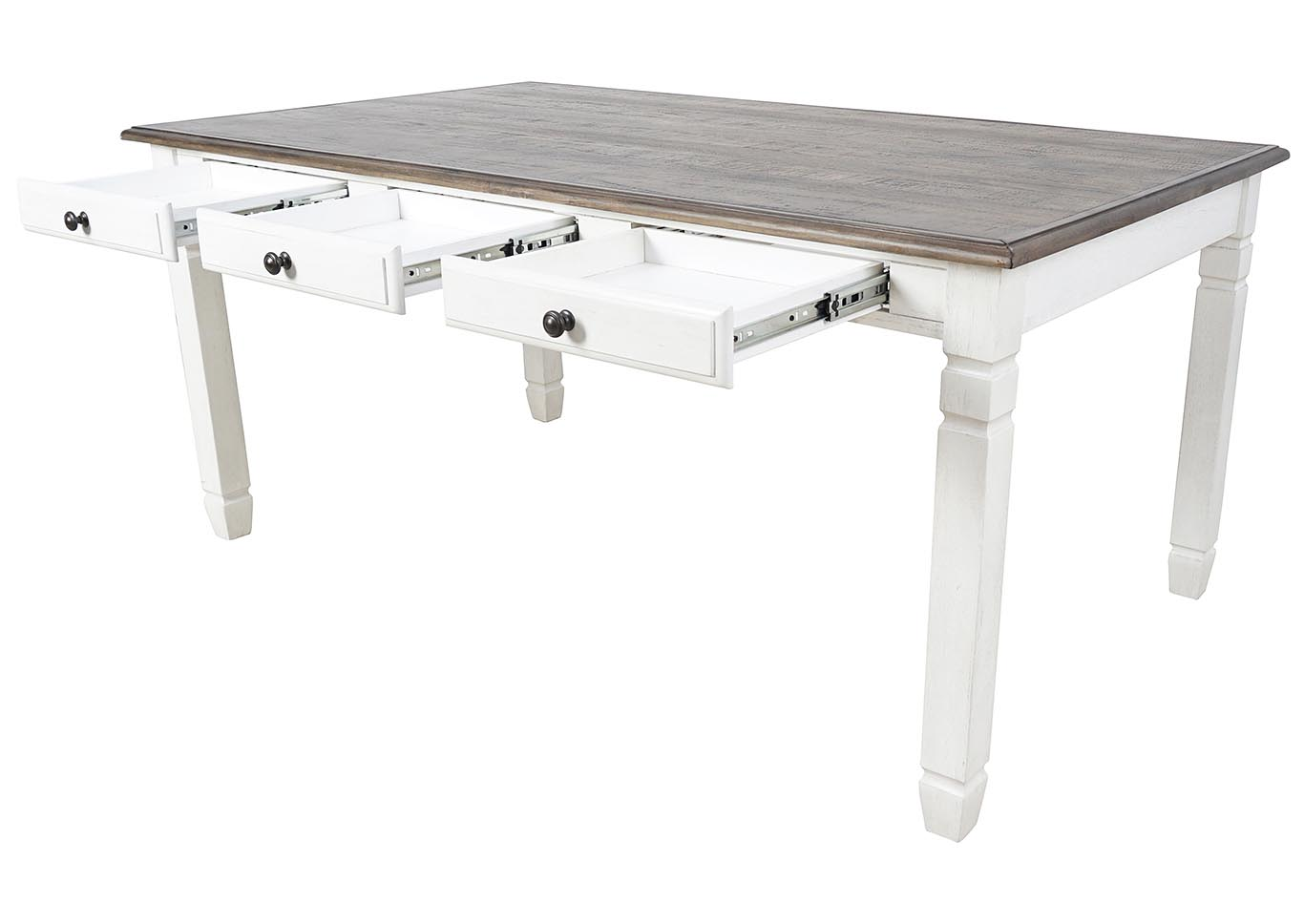 Prairie Point White Rectangular Dining Table w/6 Drawers,New Classic