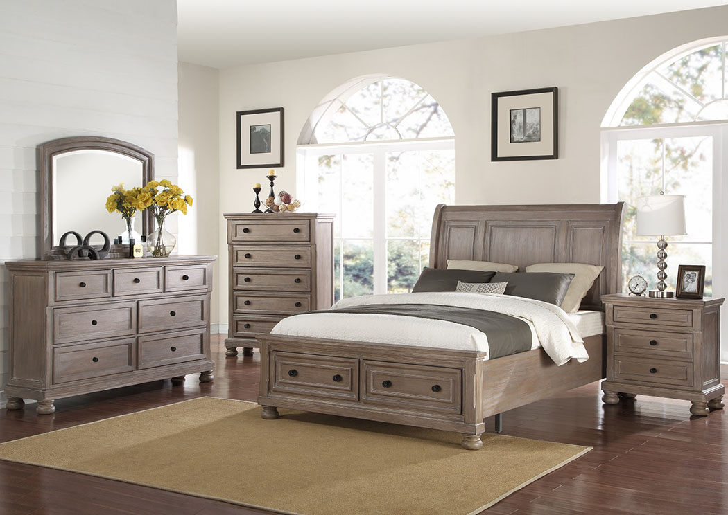 Allegra Pewter King Storage Bed,New Classic