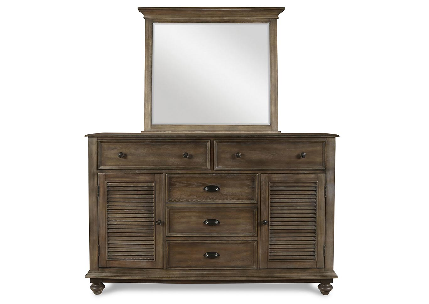 Lakeport Pewter Dresser and Mirror,New Classic