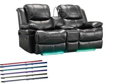 FLYNN BLACK CONSOLE LOVESEAT W/READING LIGHT AND POWER