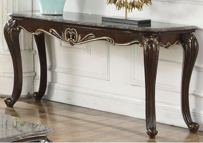Constantine Antique Brown Console Table w/Marble Top