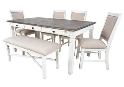 Prairie Point White Rectangular Dining Table w/6 Drawers