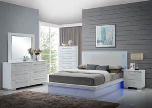 Sapphire White King Platform Lighted Side Bed