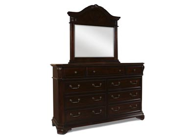 Emilie Tudor Brown Dresser and Mirror