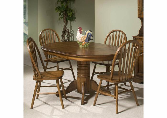 Classic Solid Oak 5-Piece Dining Set,Old Brick