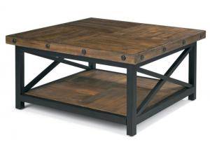 Image for Carpenter Square Cocktail Table w/Metal Base and Wood Plank Top