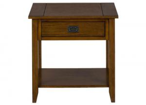 Image for Mission Oak End Table w/1 Drawer and 1 Shelf