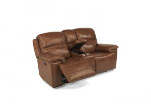Image for Fenwick Leather Power Reclining Console Loveseat w/Power Headrest by Flexsteel