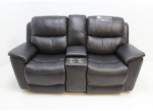 Image for Raven Leather Triple Power Reclining Console Loveseat by Flexsteel
