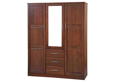 Image for 3-Door Cosmo Wardrobe with Mirror, Mocha