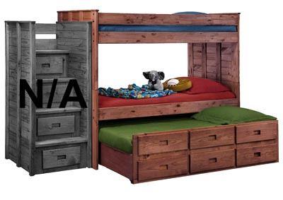 Image for Pine Twin Bunk Bed w/Six-Drawer Unit