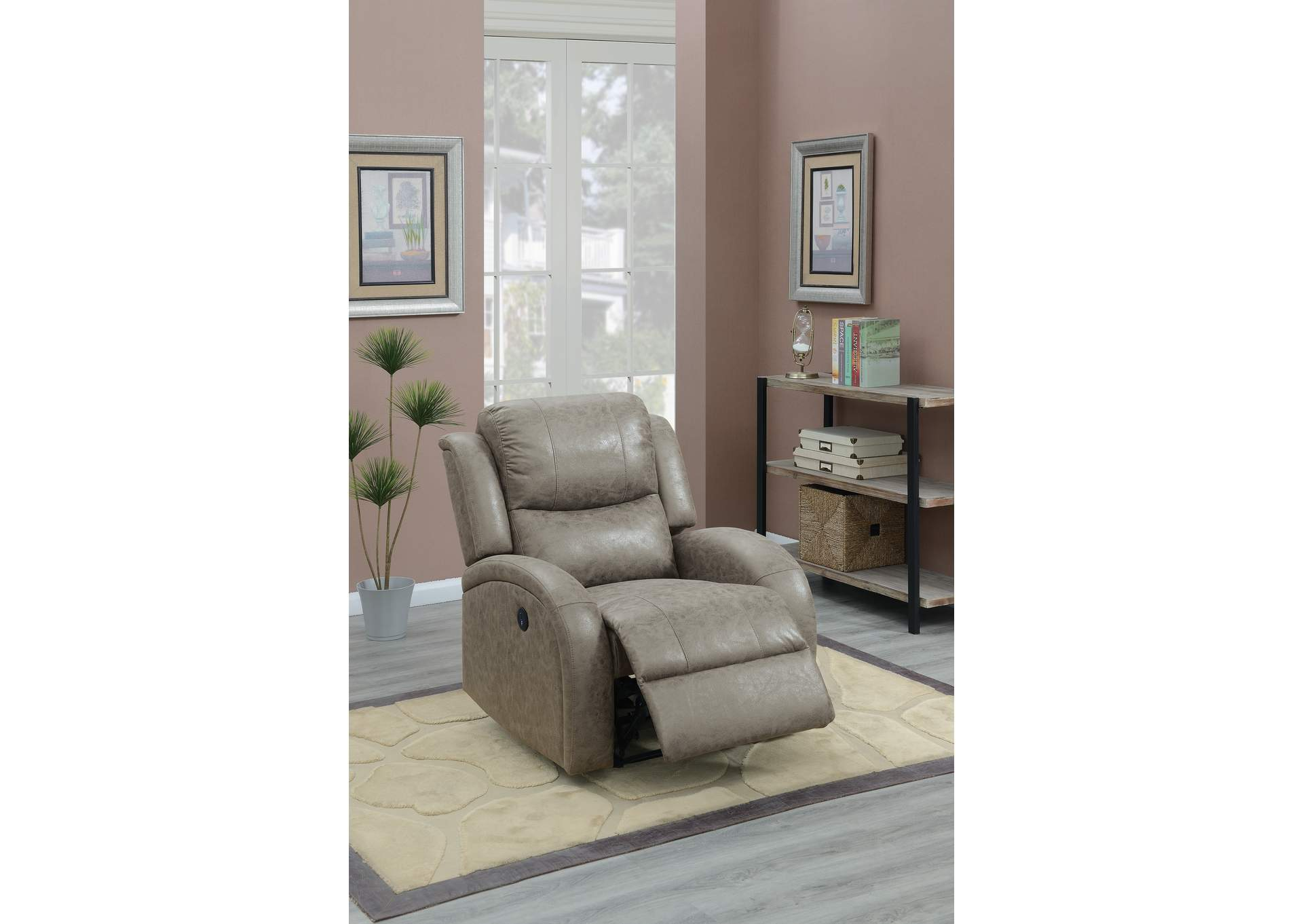 Taiyus Stone Power Recliner,Poundex
