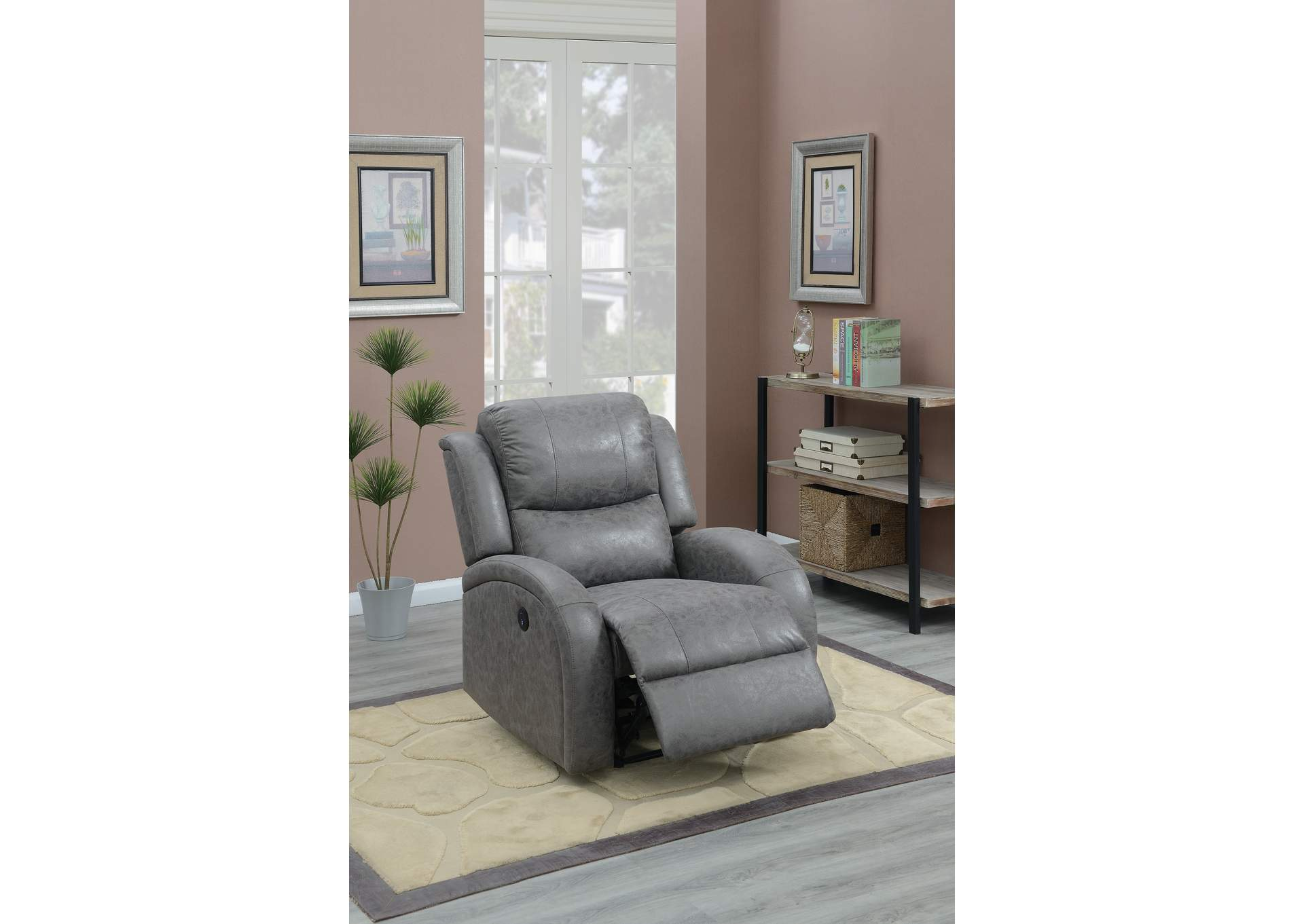 Taiyus Grey Power Recliner,Poundex