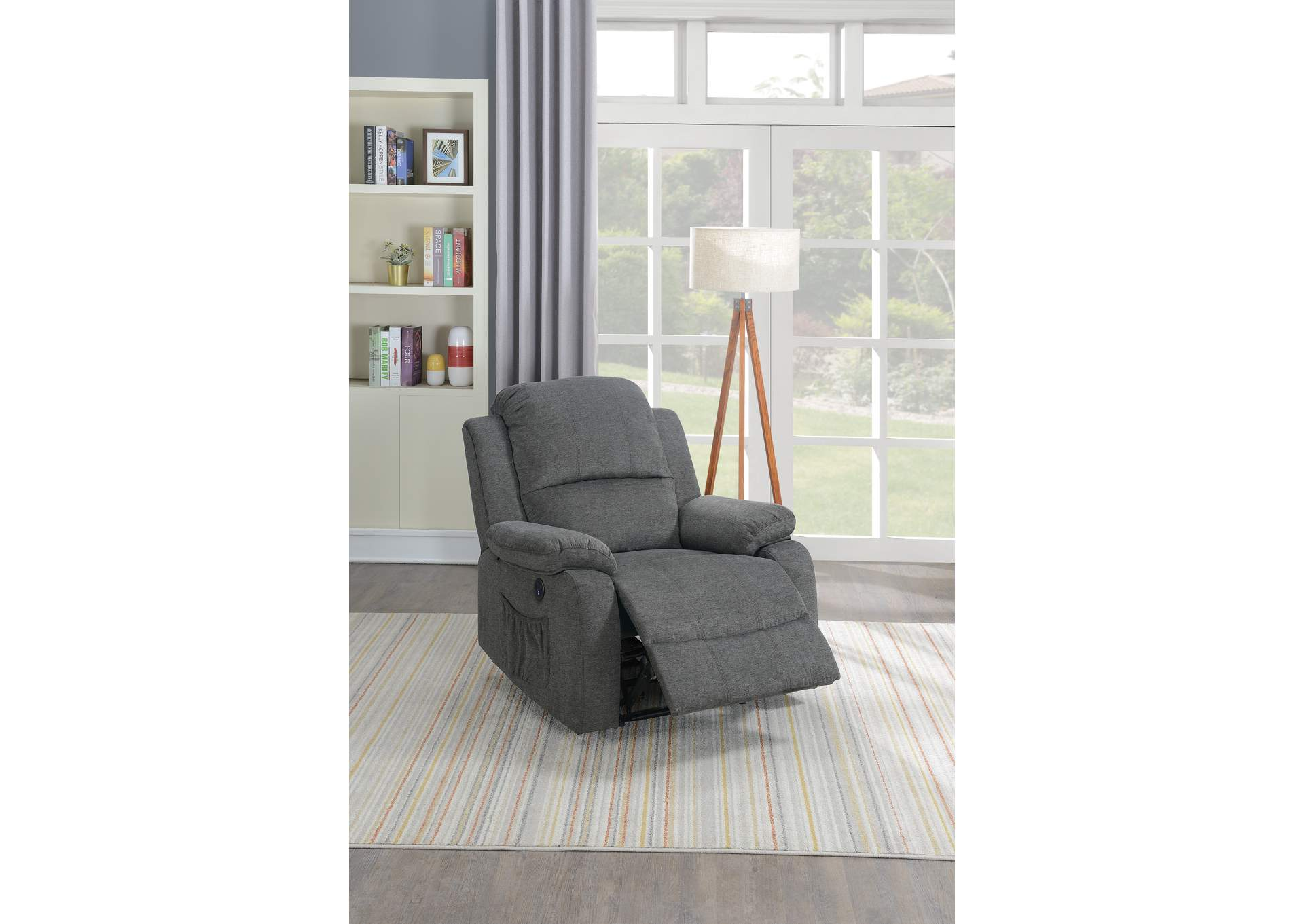 Taiyus Slate Velvet Power Recliner,Poundex