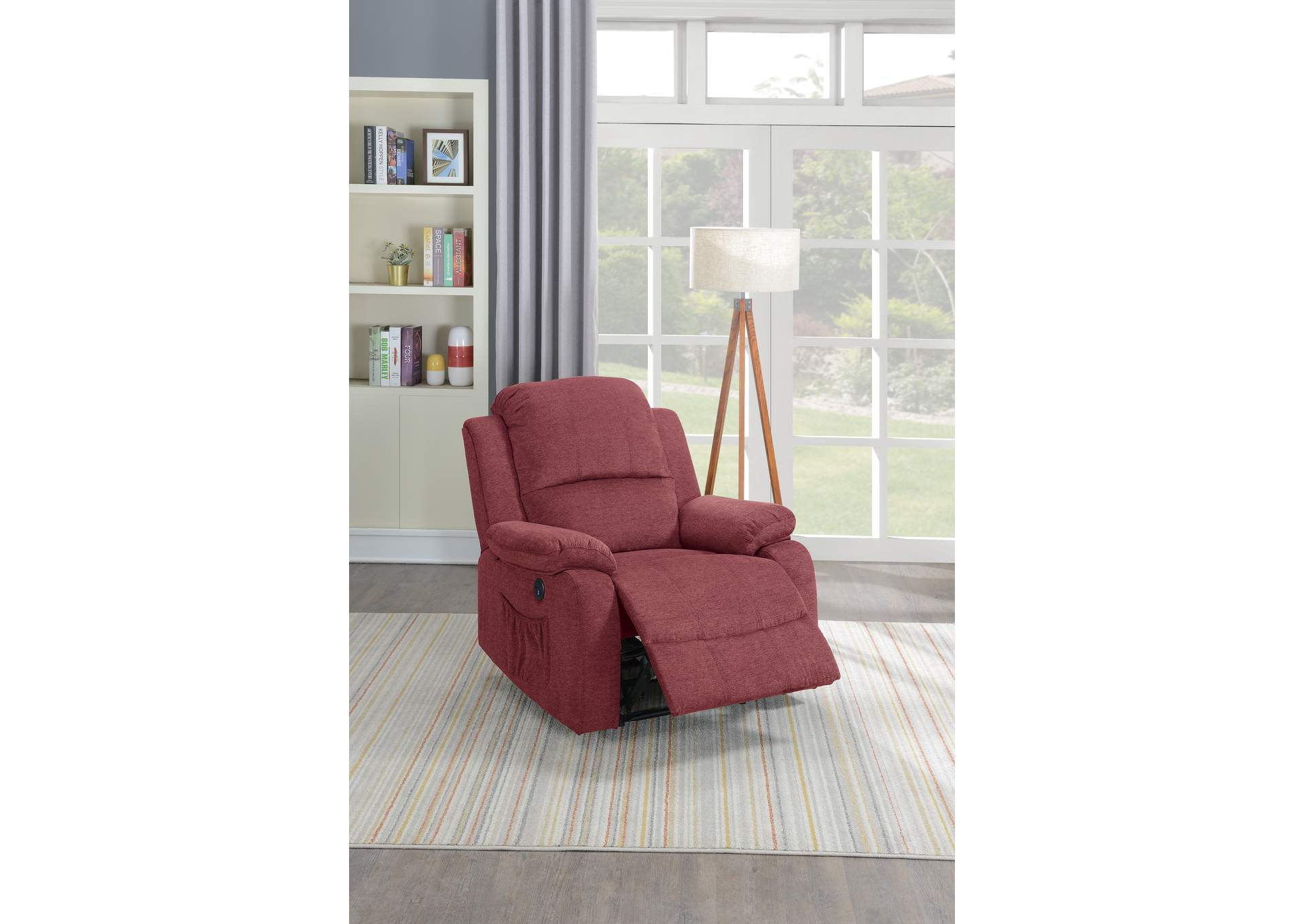 Taiyus Paprika Red Velvet Power Recliner,Poundex