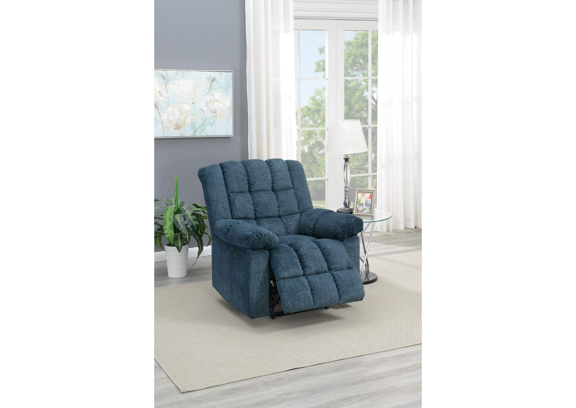 Taiyus Dark Blue Chenille Power Recliner,Poundex