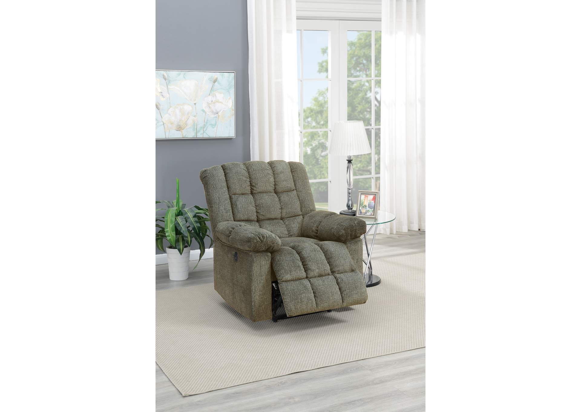 Taiyus Tan Chenille Power Recliner,Poundex
