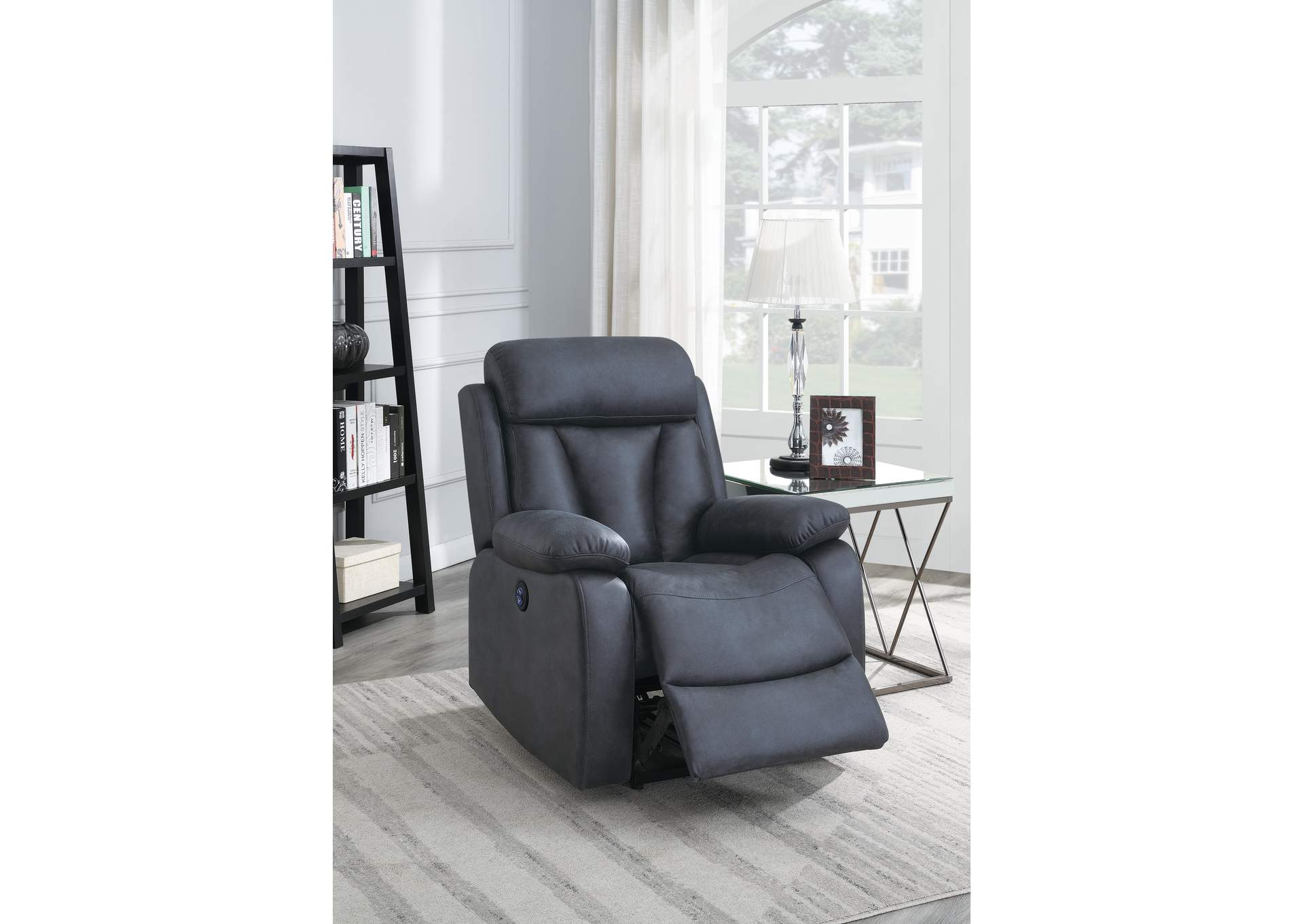Jovfur Navy Blue Power Recliner,Poundex