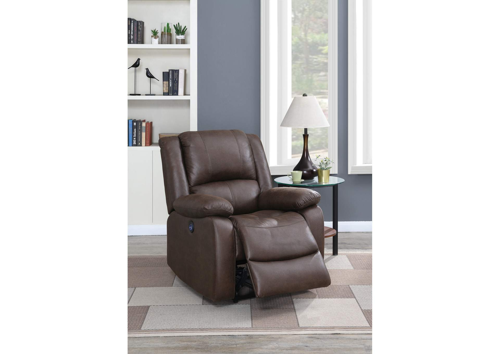 Jovfur Dark Brown Power Recliner,Poundex