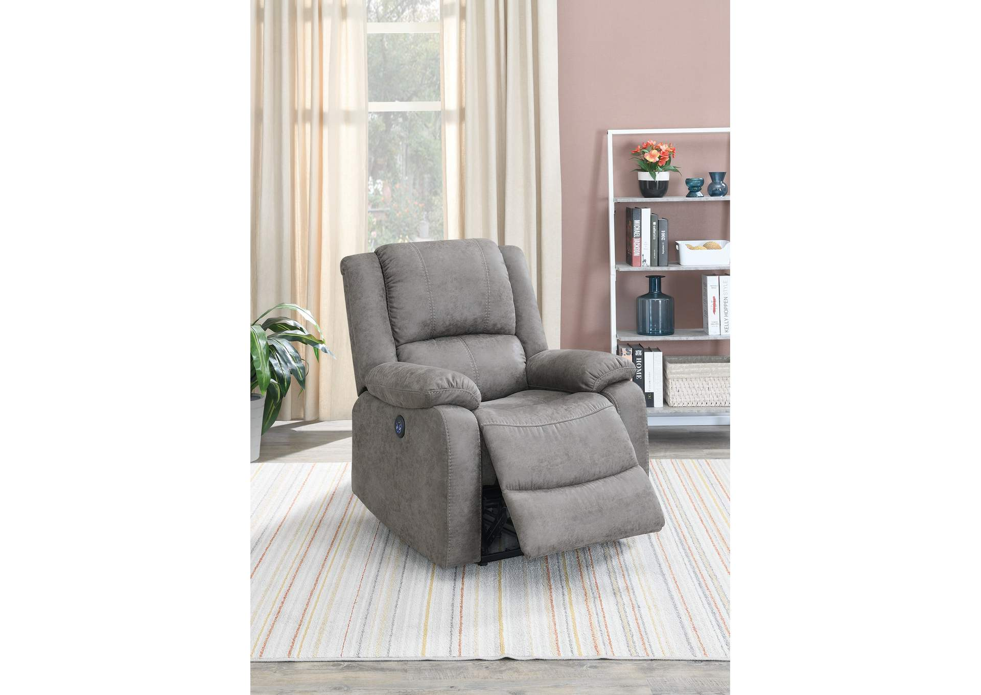 Jovfur Antique Grey Power Recliner,Poundex