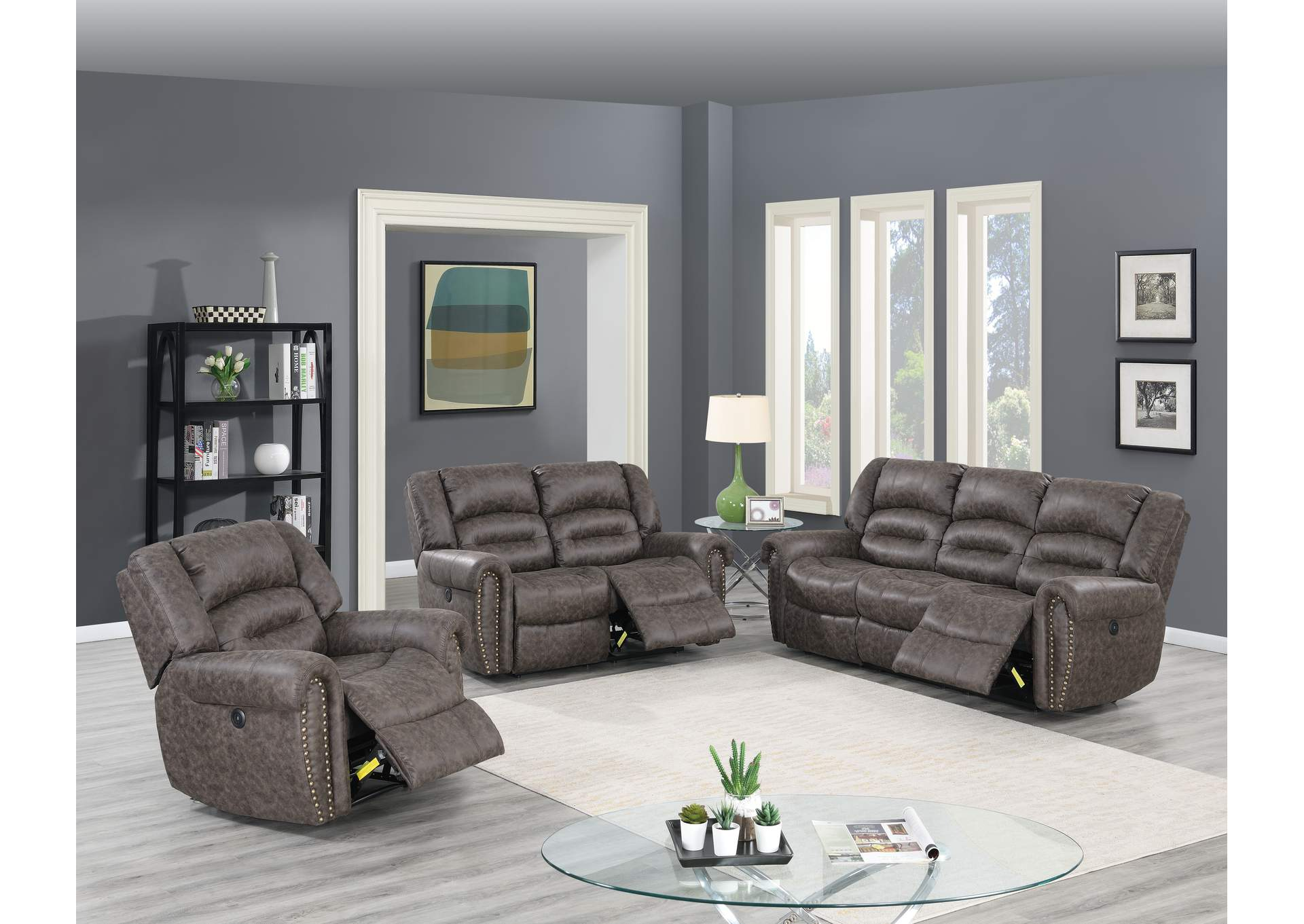Zoyart Taupe Power Recliner,Poundex