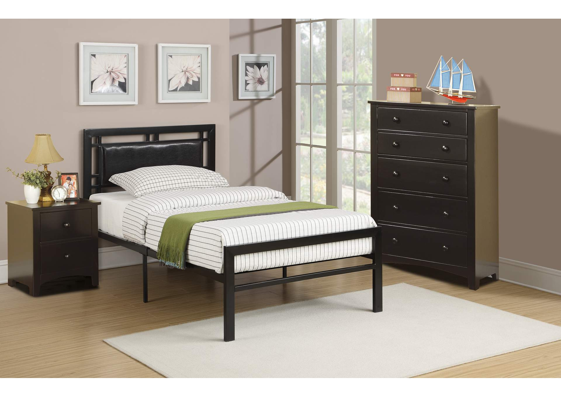 Black Twin Bed,Poundex
